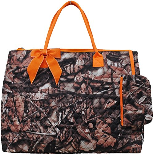 BnB Natural Camo Print Quilted Over Night Shopping Tote Bag