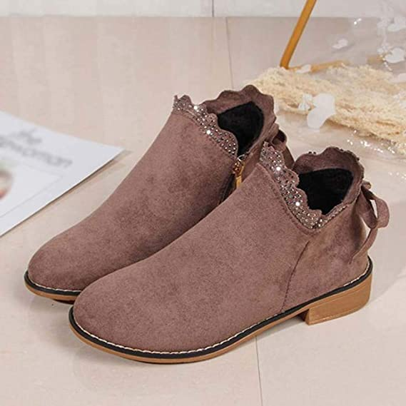 Amazon.com: Realdo Womens Bow Lace Ankle Boots Clearance Sale,Women Vintage Flat Casual Lightweight Suede Single Boots: Clothing