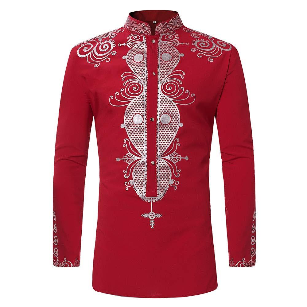 Toimothcn Men's African Style Print Long Sleeve 1/4 Zipper Dashiki Shirt Top Blouse 2356488 Toimothcn-619805