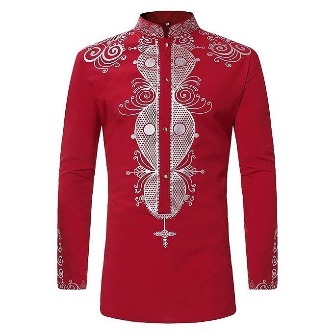 Cebbay Camisa de Manga Larga Estampado étnico Africano de los ...