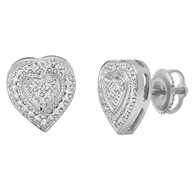 0878af12e6ecf Amazon.com: 0.16 Carat (ctw) 10K White Gold Round Cut White Diamond ...
