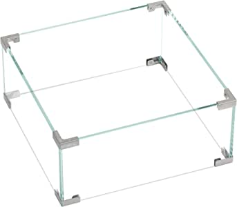 "Bali Outdoors Square Fire Pit Glass Wind Guard, Clear Tempered Wind Guard for Fire Pit Table, 17.8""x17.8""x 7.9"" Square Fire Table Accessory Shiled"