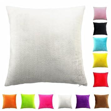 Easondea Fundas de Cojín de Color sólido Square Decorativos para Sofá Cama Coche Fundas Cojines Funda de Almohada Crema 70X70CM