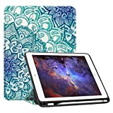 Fintie iPad 9.7 2018 Case with Built-in Apple Pencil Holder - [SlimShell] Lightweight Soft TPU Back Stand Cover with Auto Wake/Sleep for Apple iPad 2018 9.7 Inch (6th Gen), Emerald Illusions
