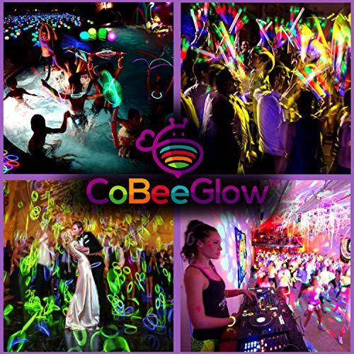 Glow Sticks Bulk Party Supplies - 100 Light Stick Necklaces - Extra Bright Glow In The Dark Party Favors - 22'' Inch Necklace Strong 6mm Thick - 9 Vibrant Neon Colors - Stuffers for Kids - Mix by CoBeeGlow (Image #6)