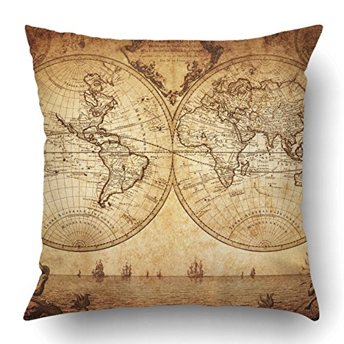 Emvency Throw Pillow Covers Old Vintage Map of The World 1733 Ancient Antique Africa Retro Atlas Earth Abstract Polyester 18 X 18 Inch Square Hidden Zipper Decorative Pillowcase