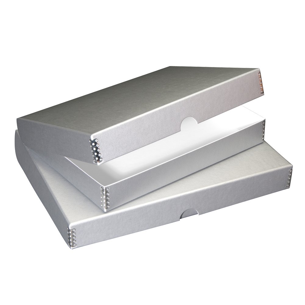Lineco Textured Metallic Folio Storage Box, Acid-Free with Metal Edges, 9.5 X 12.5 X 1.75 inches, Silver (717-4912)