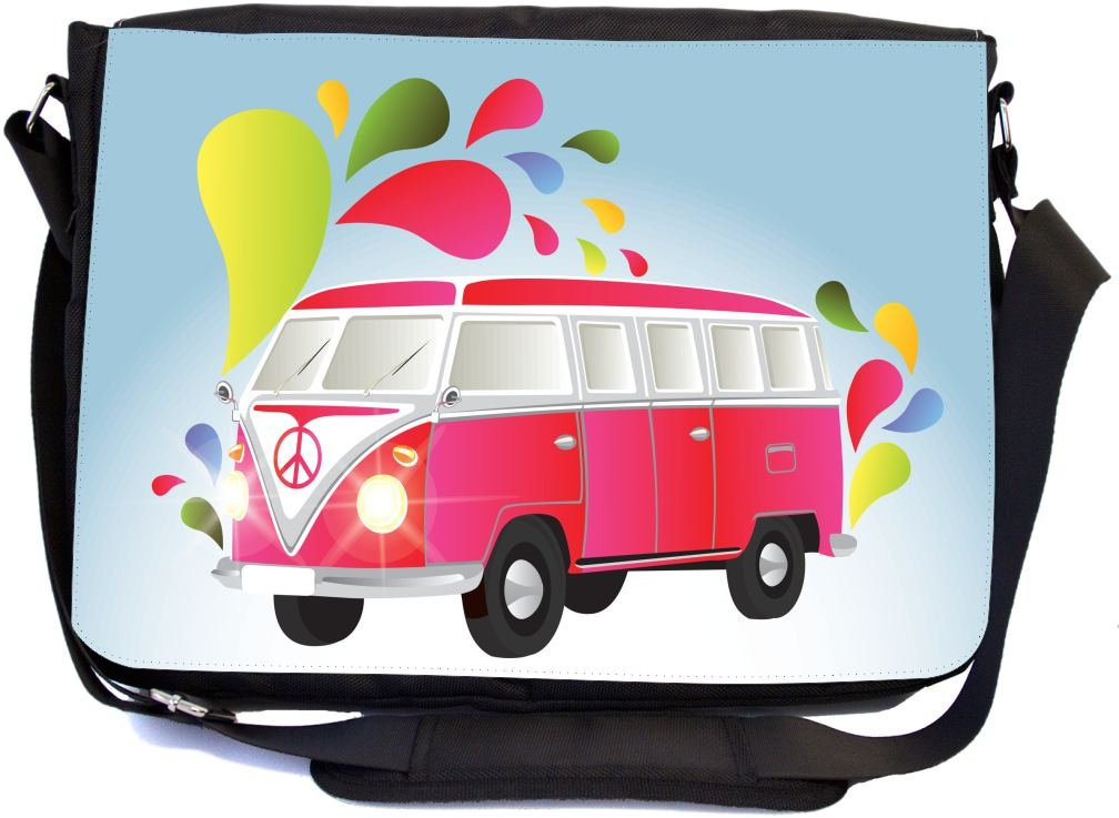 Rikki Knight Retro Pink Volkswagen with Splashes Design Multifunctional Messenger Bag - School Bag - Laptop Bag - with Padded Insert for School or Work - Includes Matching Compact Mirror