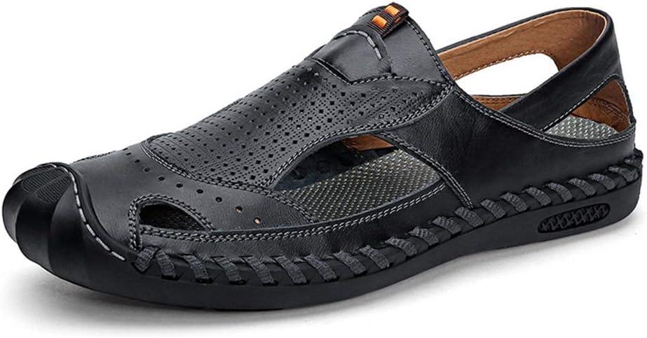 Czcrw Las Nuevas del Verano Masculino de Las Sandalias del Cuero Genuino Zapatos de la Playa Inferior Suave Antideslizante de Ocio Sandalias de los Hombres (Color : Negro, tamaño : 9.5US=43EU)