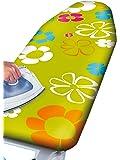 WENKO 1236645500 Bügeltischbezug Green Flowers - dampfbügelgeeignet, Baumwolle, Mehrfarbig