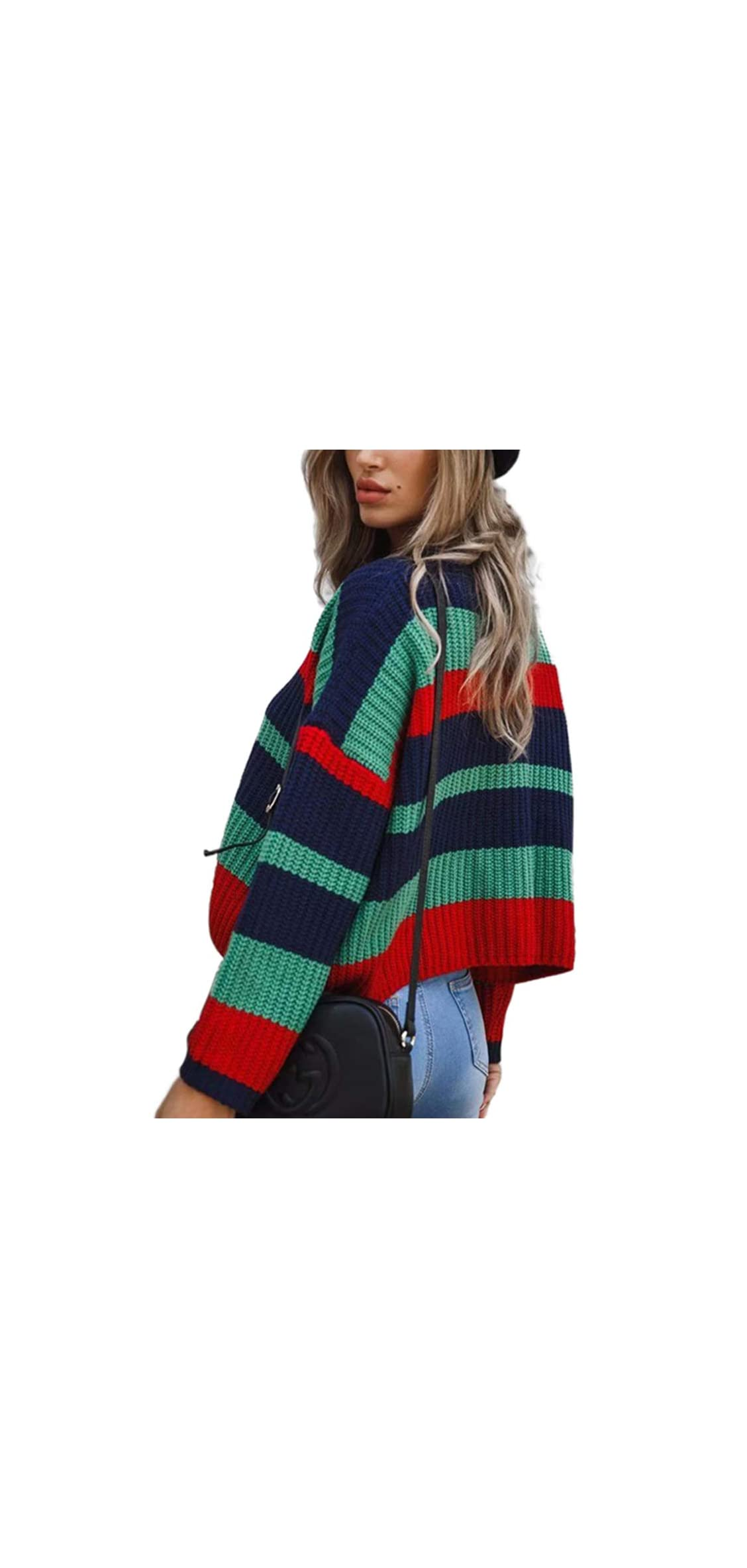 Women's Crew Neck Long Sleeve Color Block Knit Sweater