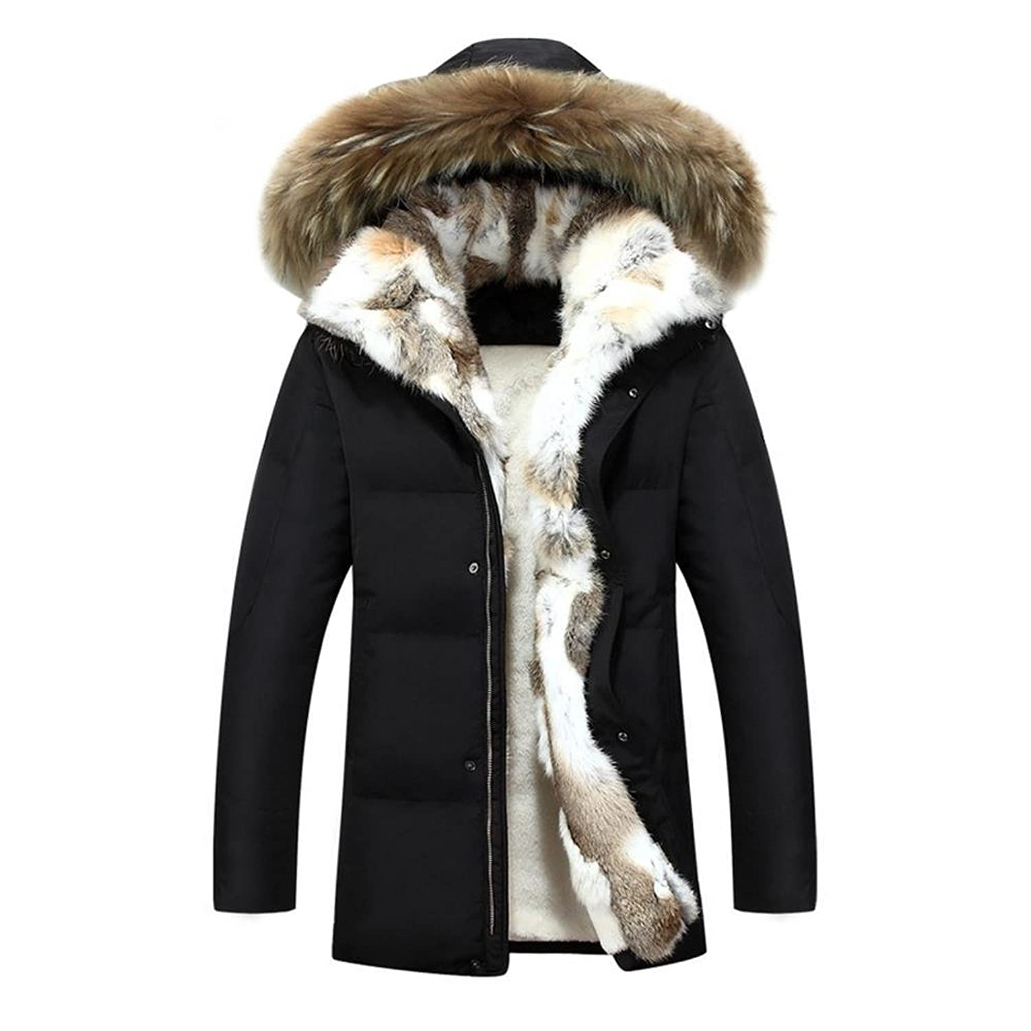 Mens down parka with fur hood