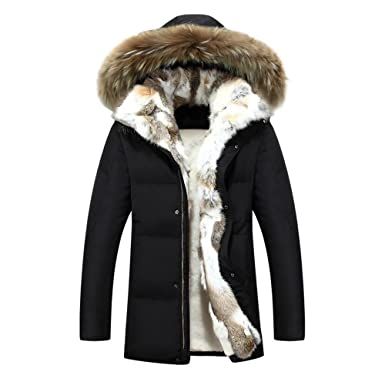 Hzcx Fashion Men's Real Fur Collar Warm Fleece Lined Down Jacket ...