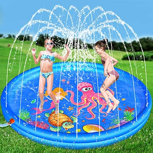 """Hamsoo 68"""" Splash Pad Play Mat for Kids Age 2 3 4 5 6 7 8, Sprinkle & Splash Summer Toys for Toddlers Outdoor Swimming Baby Pool Inflatable Outside Water Toy for 2-12 Year Old Boys Girls"""
