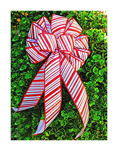 """10"""" Wide Christmas bows red white candy canes ribbons wired wreaths gifts trees from Unknown"""