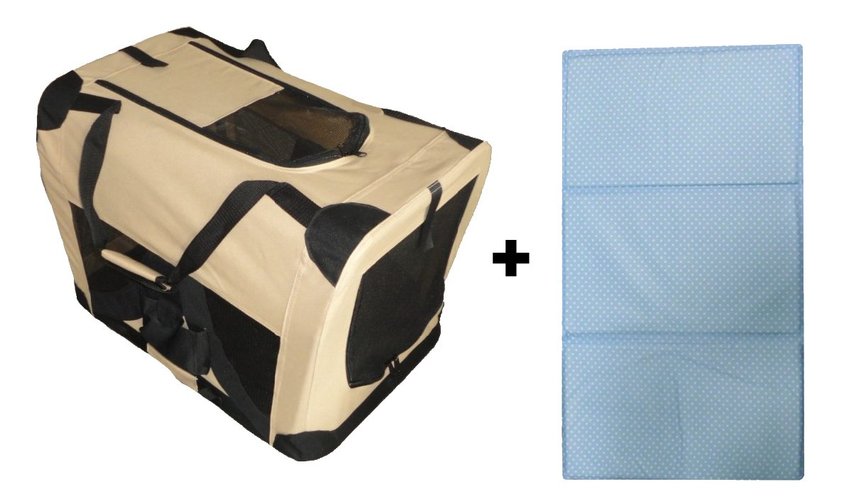 Cool Runners Soft Beige Pet Crate with Cooling Pad 58cm x 41cm x 41cm Gel Pad Begins to Cool Instantly Keeping Your Pet Comfortable In The Hot Weather