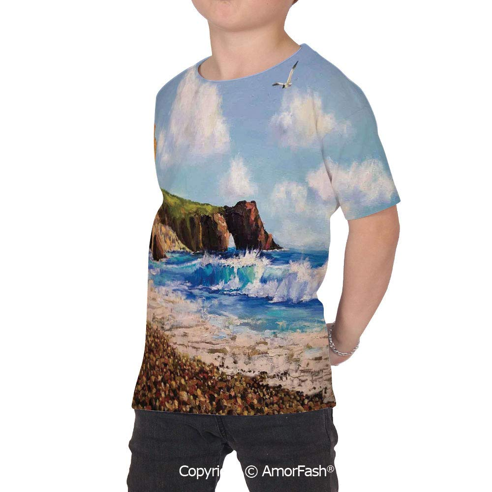 PUTIEN Country Decor Crew Neck for Ultimate Comfort T-Shirt,Painting of a