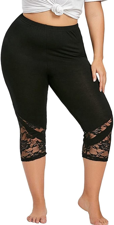 Women Lace Plus Size High Waist Yoga Pants Capri Leggings ...