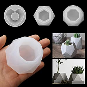 3 PCS Silicone Resin Ashtray & Flower Pot Molds, DIY Heart Mold, Hexagon Mold and Octagon Molds,Resin Casting Mold Silicone Resin Mold Set to Make Ashtray and Mini Flower Pot