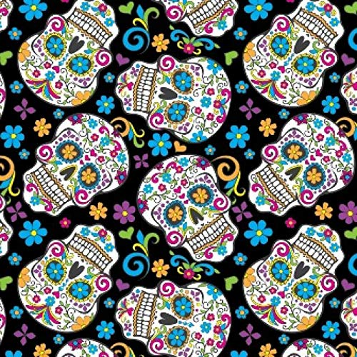 Black Folkloric Skulls Day of The Dead Fleece Fabric - 60