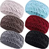 Pangda 6 Pieces Winter Headbands Women's Cable Knitted Headbands, Winter Chunky Ear Warmers Suitable for Daily Wear and Sport (Multicolored)