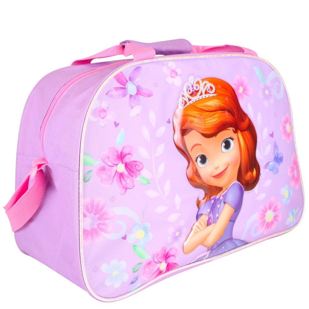 PERLETTI Borsa sportiva bambina Disney Principessa Sofia - Borsone sport per palestra viaggio e tempo libero - Viola - 42x18x28 cm 13506