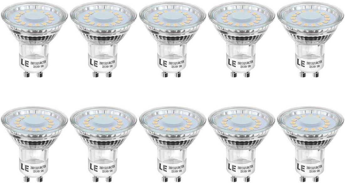 Lighting EVER LE Bombillas LED GU10 4W, Equivalente 50W Halógena 350 Lumen Blanco Cálido 2700k, Ángulo de Haz de 120°, Paquete de 10
