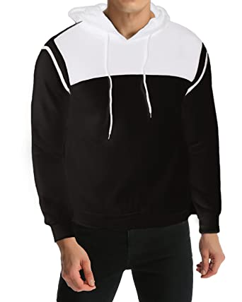 44bff605dbda0 MODCHOK Men s Hoodie Casual Plain Pollover Sweatshirts Soft Coat Outerwear  Tops Black S