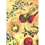 Tuscan Themed Vinyl Flannel BackTablecloths - Tomatoes, Peppers and Herbs (52'' x 70'' Oblong)
