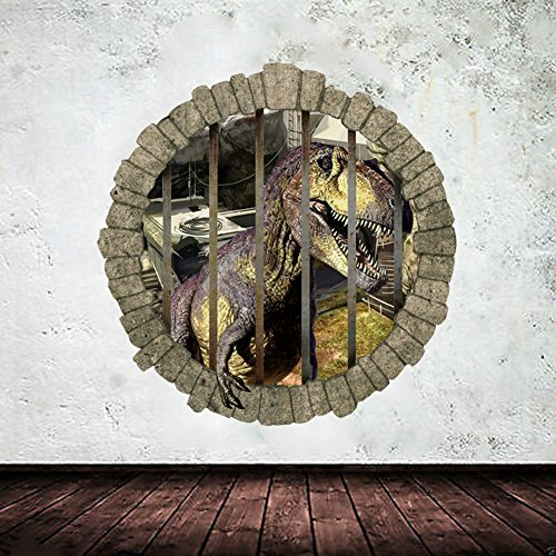 EMIRACLEZE Christmas Gift 3d Style Jurassic Park Stereoscopic Wall Dinosaur Removable Mural Wall Stickers Wall Decal for Children Bedroom Home - Kid Polar Glasses Express