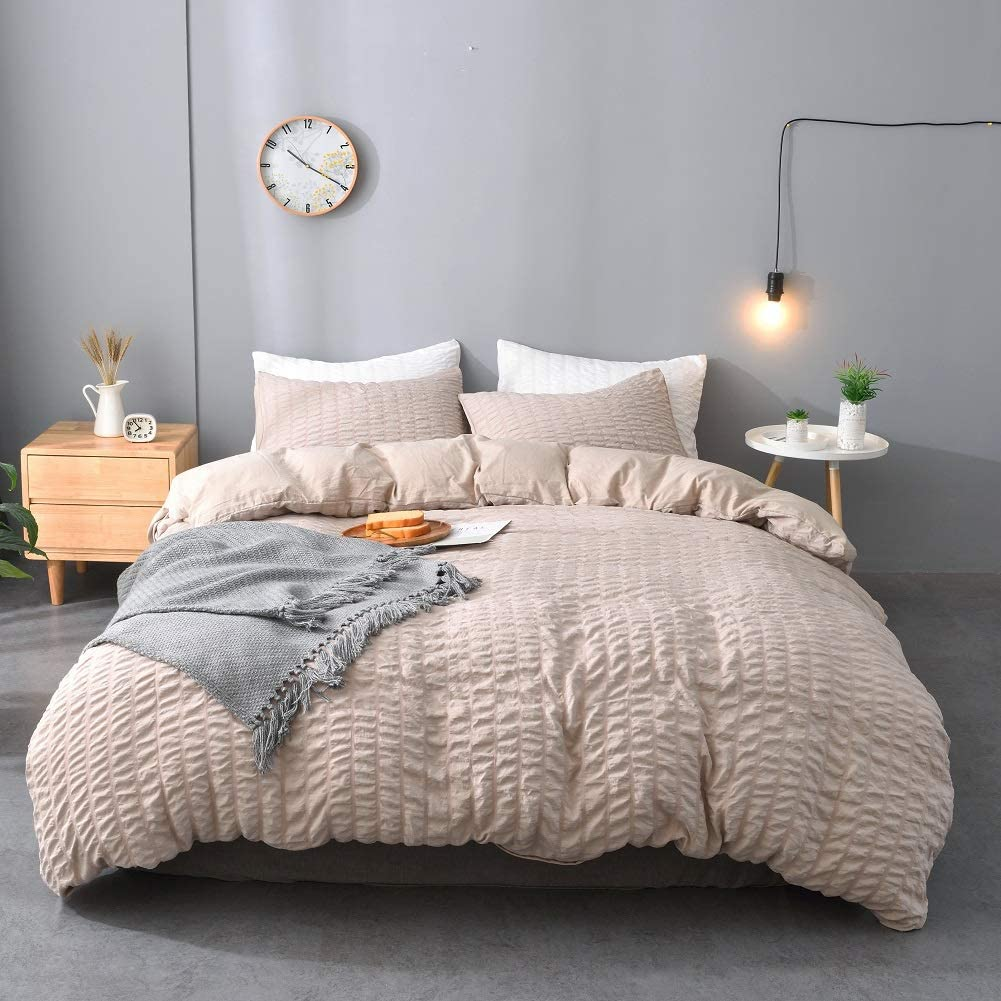 M&Meagle 3 Pieces Textured Duvet Cover Khaki Set with Zipper Closure,100% Washed Microfiber Seersucker Fabric,Luxury Hotel Quality Bedding-King Size(1 Duvet Cover 2 Pillowcases)