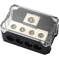 DeepRoar Power Distribution Block 0/2/4 Gauge in to 4/8/10 Gauge Out Circuit Protector (Black)