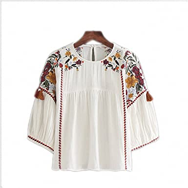 NEW Women Vintage Floral Embroidery Shirts Half Sleeve O Neck White Blouse Female Casual Streetwear Top