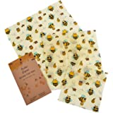 Set of 3 Beeswax Wraps Made of Cotton, Beeswax, Jojoba Oil, Tree Resin Food Wrap Reusable Washable Biodegradable Alternative to Cling Film, Plastic Wrap, Paper Sandwich Bags & Silicone Food Covers