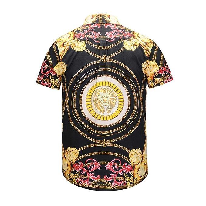 66fc26b83 LHXWY Camisa Hawaiana De Manga Corta Colorido Flor Grande Verano Moda  Camiseta Camiseta Fiesta Impresión Elegante 3D León Dorado  Amazon.es  Ropa  y ...