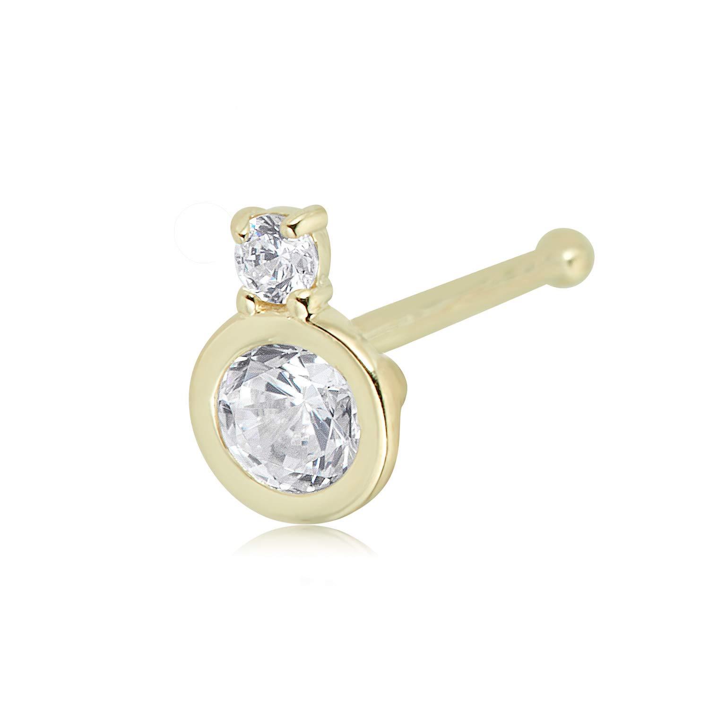 14K Yellow Gold Bezel Set 2-Simulated Diamond CZ Nose Ring Body Jewelry - 022 Gauge by AVORA