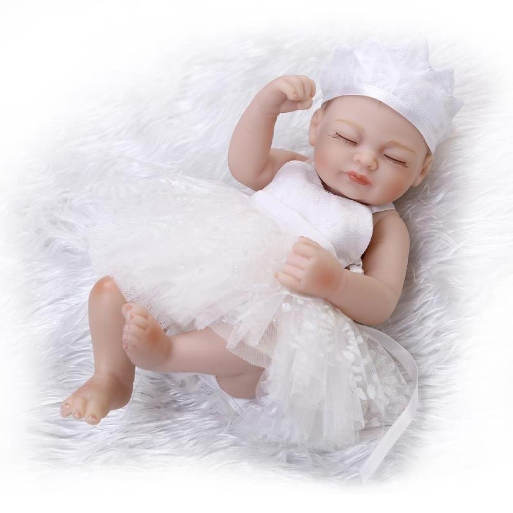 GHCX Simulation Reborn Baby Silikon Wasser Begleit Spielzeug Mini Cute Baby Kind Kreative Geburtstagsgeschenk 25 cm,Weiß