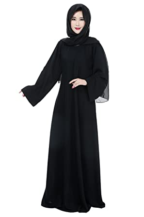 Muslim Women Modest Long Sleeve Maxi Party Prom Abaya Islamic Dress at Amazon Womens Clothing store: