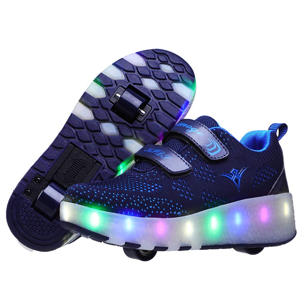 Lucky Kids Girls Boys LED Roller Skate Shoes Double Wheels Flashing Luminous Skates Outdoor Gymnastics Fashion Sneaker Technical Skateboarding Shoes with USB Charging