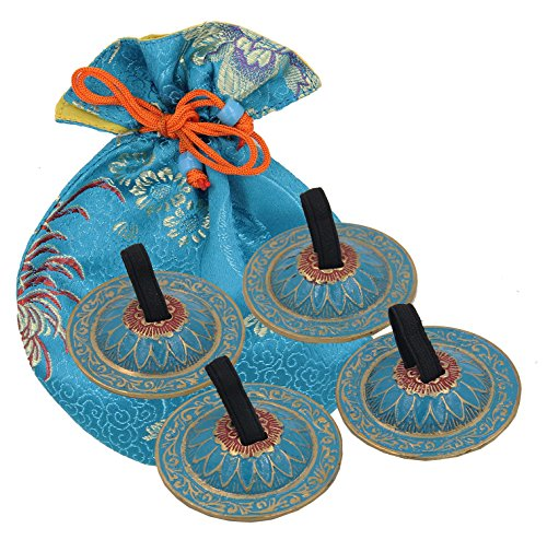 2 Pairs Brass Floral Finger Cymbals Zills for Belly Dancing (Turquoise) ()
