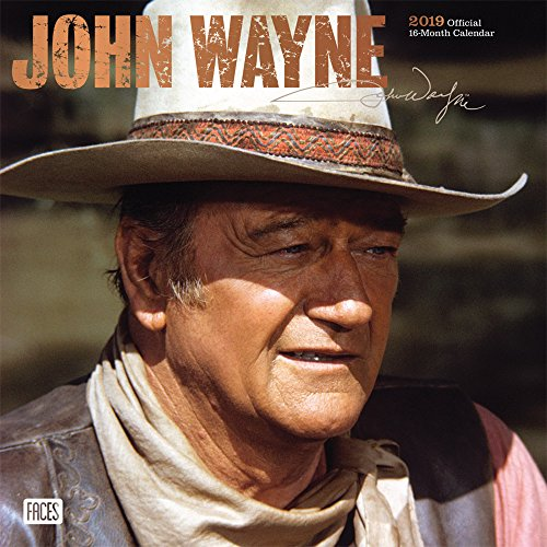John Wayne 2019 12 x 12 Inch Monthly Square Wall Calendar with Foil Stamped Cover by Faces, USA American Actor Celebrity Country