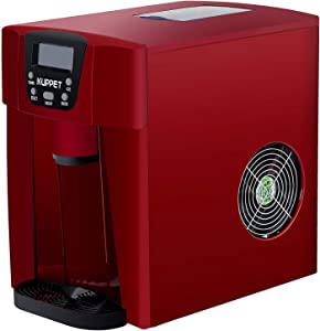 KUPPET 2 in 1 Countertop Ice Maker Water Dispenser, Ready in 6min, Produces 36 lbs Ice in 24 Hours, LED Display (Red)