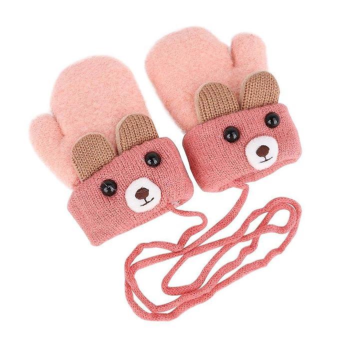 Gfone Unisex Boys Girls Winter Warm Stretchy Soft Comfort de punto guantes de dibujos animados Guantes