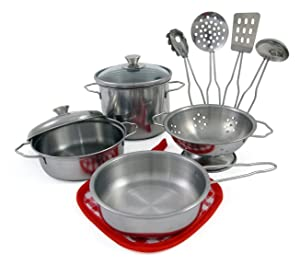 Liberty Imports Metal Pots and Pans Kitchen Cookware Playset for Kids with Cooking Utensils Set