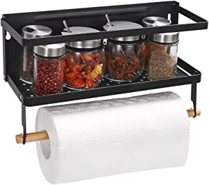 Haturi Fridge Spice Rack, Magnetic Paper Towel Holder Ideal for Kitchen Organizer (Small,Black)