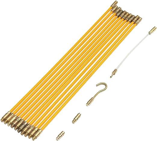 Kit R/étractable d/'Installation pour Cable en Bo/îtier Plastique gazechimp Tire Fil /Électriques 33cmx10 Pi/èces Jeu de Baguettes Fibre de Verre