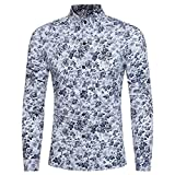 Men's Floral Shirt Retro Stylish Print Long Sleeve Slim Fit Business Shirt Tops Zulmaliu (M, White)