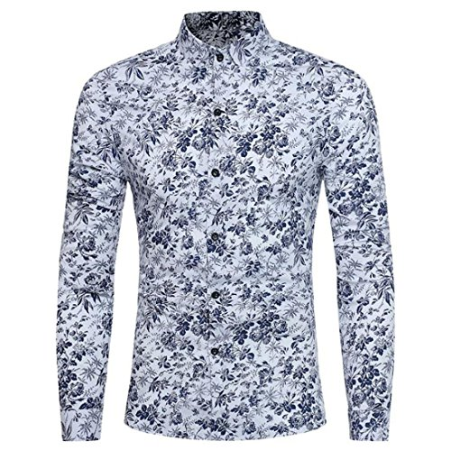 Men's Floral Shirt Retro Stylish Print Long Sleeve Slim Fit Business Shirt Tops Zulmaliu (M, White) by Zulmaliu-Shirts 2018