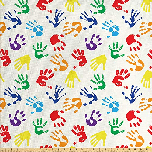 Lunarable Paint Fabric by The Yard, Colorful Hand Shapes Fingerprints Rainbow Palette Abstract Children Activity Pattern, Decorative Fabric for Upholstery and Home Accents, 1 Yard, Red Blue (Colorful Fabric Upholstery)