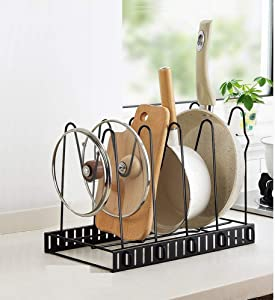 Pot Lid Holder,Lid Organizer,Pot Lid Rack Storage,Pan Lid Cover Cabinet Pantry Holder Rack Organizer, Multifunctional Kitchen Cookware Chopping Board Organizer Storage Rack (POT HOLDER)
